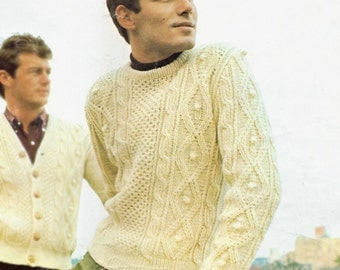 Knitting Patterns Irish Fisherman Sweaters : Items similar to Hand Knit Women Chunky Cable Aran Irish Fisherman Sweater Co...