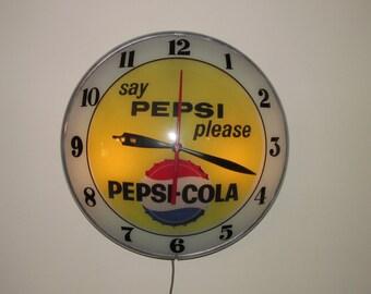"Vintage Pepsi-Cola Clock ""Say Pepsi Please"""