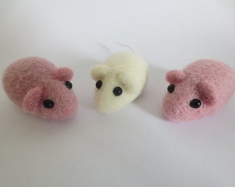 Felted mouse pink sugar candy keepsake wedding favor Mother's Day gift
