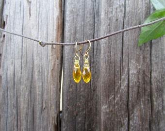 Golden Yellow Faceted Briolette Earrings - Gold Wire Wrap Briolette earrings