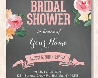 Bridal Shower Invitation, Chalkboard Bridal Shower Invite, Pink Bridal Shower Invite, Floral Bridal Shower Invite, Customized, Printable