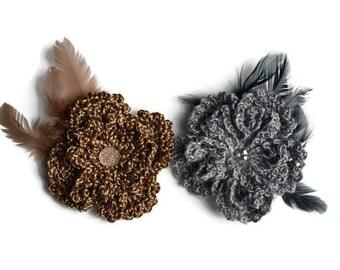 Crochet Flower Pin Brooch, Crochet Brooch, Flower Brooch, Crochet Pin, Women Gift, Gift for Her