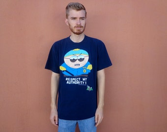 90s South Park Eric Cartman Respect My Authority! T-Shirt ~ XL