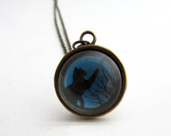 Halloween Cat Necklace - Black Cat - Halloween Gift - Black Cat Pendant