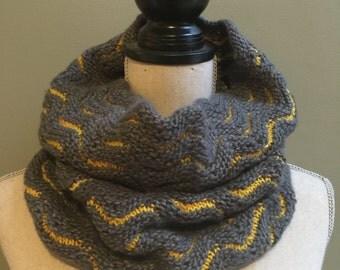 Gray Handknit Cowl, Merino Wool