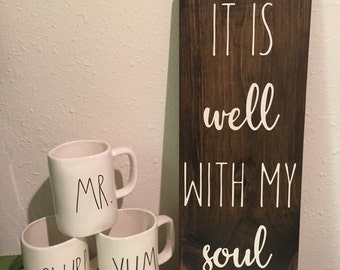 It is well with my soul, it is well with my soul sign, it is well with my soul wood sign, scripture sign, rustic wood sign