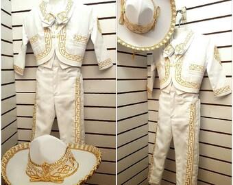Traje De Charro Mariachi Mexicano Bordado para Bebe Nino Bautizo Fiesta Mexican Charro outfit suit Costume Embroidery Authentic Baptism