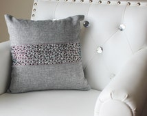 Throw Pillow with Glittering Multi-Colored Gem-Themed Stripe (Stocked in USA!)