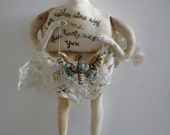 Alone with Me... OOAK Lovelorn soft sculpture textile art doll embroidery wall hanging