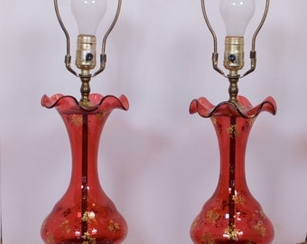 Cranberry Glass Lamps