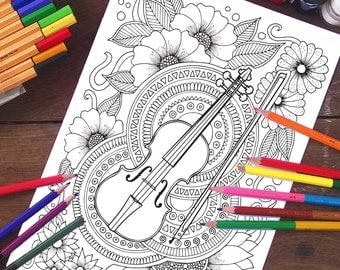 Adult coloring page, Violin and flowers, Coloring sheets, Adult Coloring, Printable coloring pages, Kids Coloring, Printable gifts