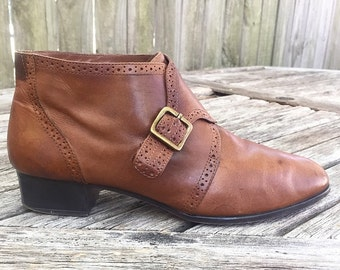 Vintage Calico Brown Leather Ankle Boots with Buckle Size 9.5