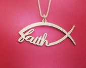 Sign Of The Fish Necklace Christian Fish Necklace Christmas Gift Ichthus Necklace Jesus Fish Necklace Christian Fish Jesus Fish Symbol