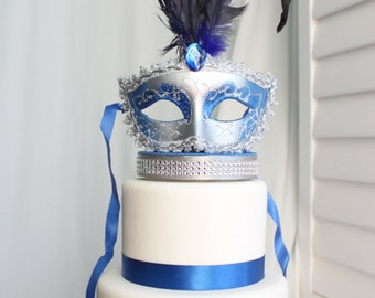 Masquerade, Venetian, Mask Cake Topper Royal Blue and Silver, Carnival