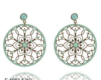 Turquoise Earrings Swarovski Crystal Earrings Dangle Earrings  Filigree Earrings  Lace Earrings Gold Earrings
