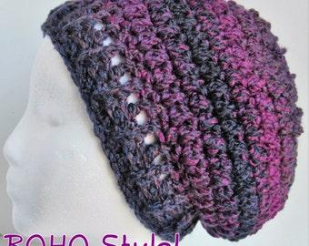 Purple Slouchy Hat, Purple Boho Hat, Boho Beanie, Crochet Slouchy Hat, Winter Hat, Womens Slouchy Hat