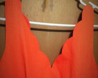 Vintage Laura Ashley Scallop Neck Dress - Size 8