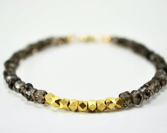 Smokey Quartz and Gold Nugget Bracelet