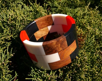 Resin and Wood Bangle Multi-Colored