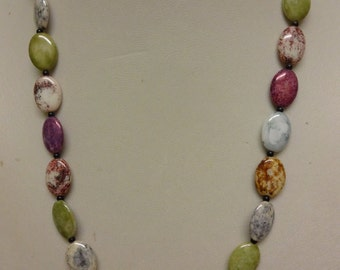 Vintage Glass Necklace, Pebble Marbled Necklace