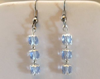Light Blue Crystal Beaded Pierced Earrings