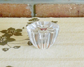 Orrefors crystal 'Flower Bloom' 1970s single candle holder in original box Mother's Day gift