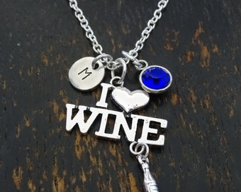 I Love Wine Necklace, I Love Wine Charm, I Love Wine Pendant, Wine Jewelry, Wine Lover Necklace, Wine Lover Gift, Wine Lovers, 21 Birthday