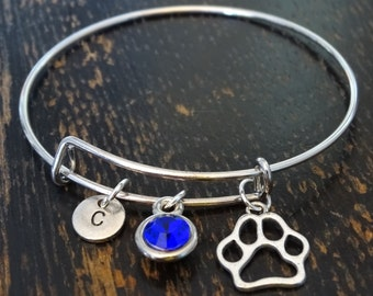 Dog Paw Bangle Bracelet, Adjustable Expandable Bangle Bracelet, Dog Paw Charm, Dog Paw Pendant, Dog Paw Jewelry, Dog Bracelet, Dog Lover