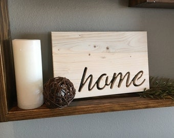 "Handmade Wood Silhouette Cutout ""Home"""