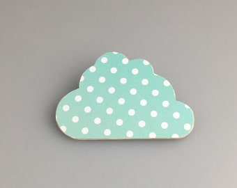 Wooden Cloud Brooch in Mint with white polka dots