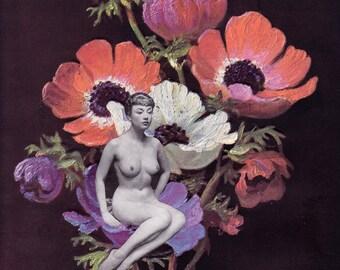 Flower Girl #1 - Collage Art, Cut and Paste, Paper Collage, Surreal Art, Vintage Ephemera, Art Print, Home Decor