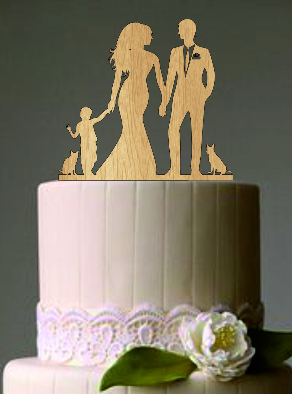 family wedding cake topper with dog and boy a cat bride and
