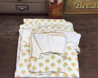 Percale Vintage Floral Sheets Full/double Flat Sheet & Pillowcase