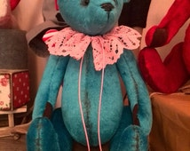 Blue teddy bears Artist teddy  Gift stuffed animal toy bears Present Bears Gifts OOAK Artist Vintage teddy bear Collectible toy Soft toy