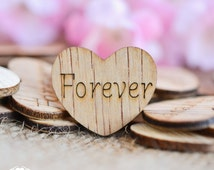 "100 Forever Hearts 1"" - Rustic Wedding Decor - Table Confetti - Wooden Hearts - Wedding Invitations"