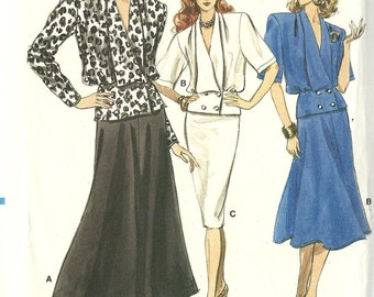 Vogue vintage 1980s sewing pattern - double breasted top and skirt - Size 6-8