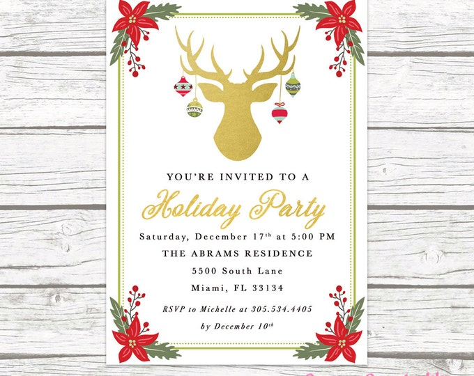 Antler Ornament Christmas Holiday Party Invitation, Holly Deer Reindeer Christmas Floral Gold Foil Invite, Red Green Printable Printed
