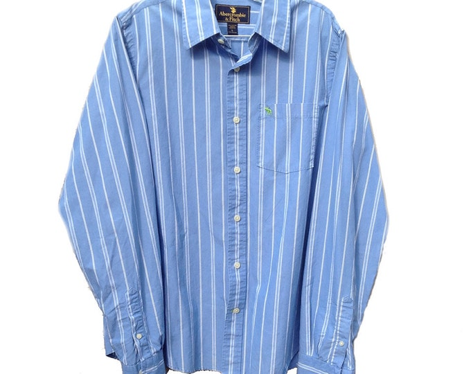 Large A&F Blue Striped Long Sleeve Abercrombie and Fitch