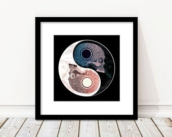 Yin Yang Wall Art, Yin Yang Print, Ying, Yan, Spiritual Decor, Art Deco, Black Decor, Home Decor, Illustration, Skulls, Boho Art, Taoism Art