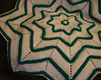 Baby Blanket crocheted in a Star design with white and teal green 8 ply acrylic yarn