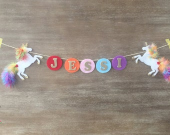 Personalized Unicorn Name Banner, Unicorn Banner, Unicorn Birthday, Rainbow Birthday, Unicorn Baby Shower, Unicorn Decor