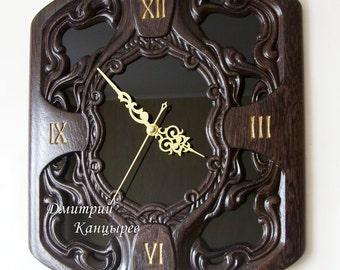 Wall clock, wooden carved, dark wood, black glass, beautiful, original, stylish, unusual