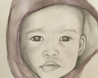 Custom pencil and watercolor sketch of child