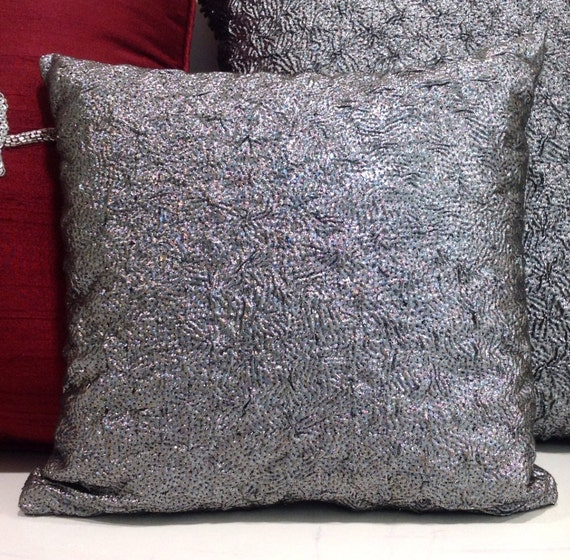 silver throw pillow metallic pillow decorative by. Black Bedroom Furniture Sets. Home Design Ideas