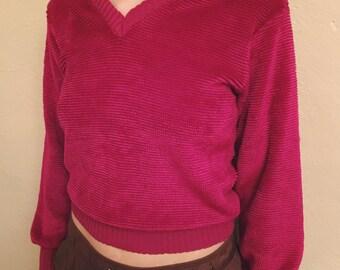 Vintage 90s Magenta Fuzzy Sweater