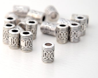 10 Tibetan Style Large Hole Beads, Antique Silver Tone Snake Column Beads, 7x10mm Tube Bali Style Slider Beads for up to 3.8mm cord, 16g