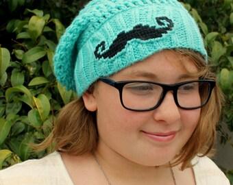 Kids Mustache hat, Girls SLOUCHY mustache hat, GIRLS Slouchy Beanie hat, Mustache BEANIE hat