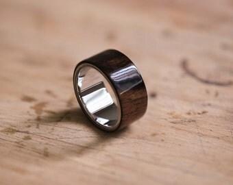 Macassar Ebony & Stainless Steel Bentwood Ring