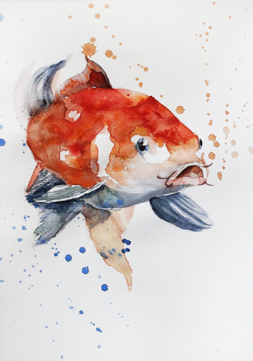 Original watercolor painting koi fish gold fish for children for Japanese fish painting