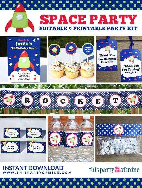 Space astronaut party invitation decorations kit for Space themed stationery